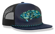 TOADFISH CAPTAINS HAT - DARK GRAY/TEAL ROPE VENTED
