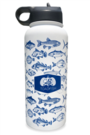 TOADFISH STAINLESS INSULATED WATER BOTTLE & LID FISH PATTERN